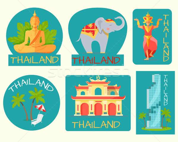 Tailândia cartaz cartões simbólico sinais cinza Foto stock © robuart
