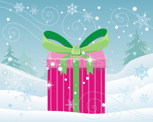 Christmas Pink Gift Box with Bow on Snow Landscape Stock photo © robuart