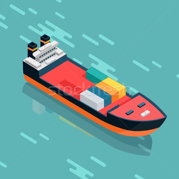 Container or Cargo Ship Sailing in the Sea. Vector Stock photo © robuart
