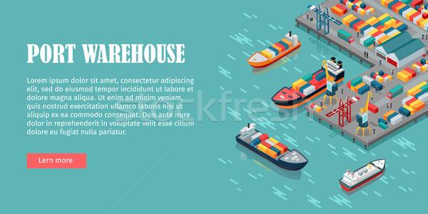 Cargo Port Illustration in Isometric Projection Stock photo © robuart