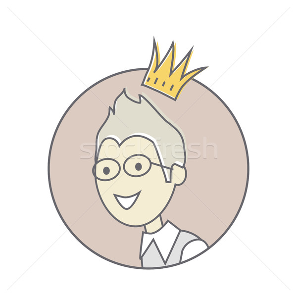 Young Man with Crown on His Head Avatar Icon Stock photo © robuart
