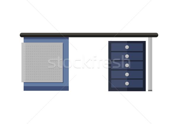 синий пусто компьютер столе служба оргтехника Сток-фото © robuart