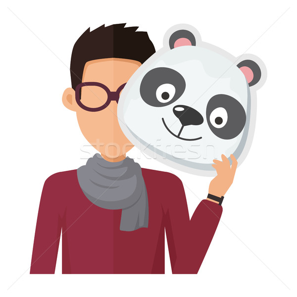 Man Without Face in Glasses with Panda Mask Stock photo © robuart