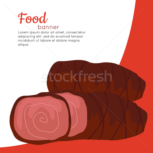Alimentaire bannière grillés délicieux viande Photo stock © robuart