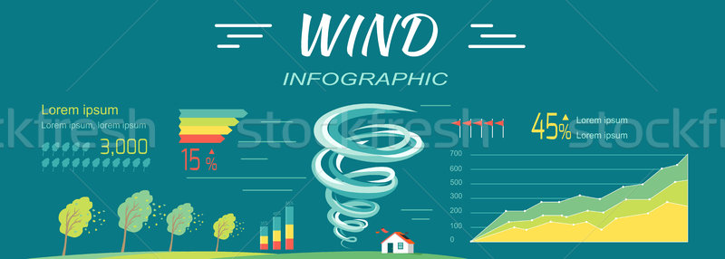Wind Infographics. Tornado and Hurricanes Banners. Stock photo © robuart