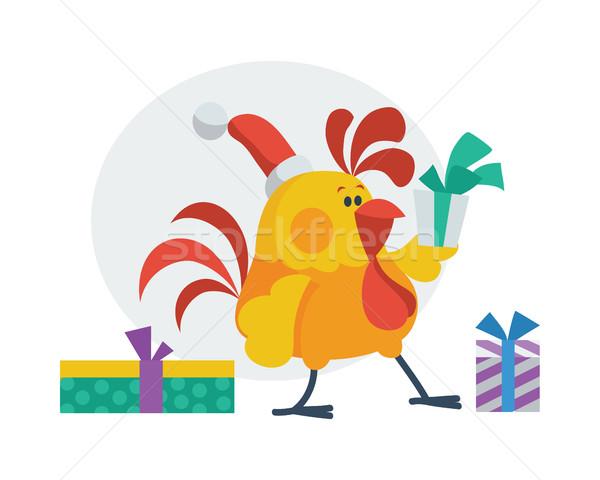 オンドリ 鳥 プレゼント コック サンタクロース 帽子 ストックフォト © robuart