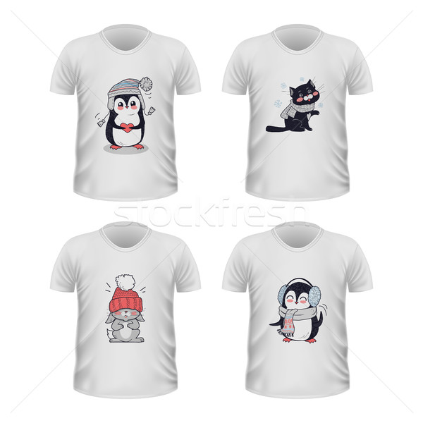 T-shirt Front View with Animals Isolated on White Stock photo © robuart