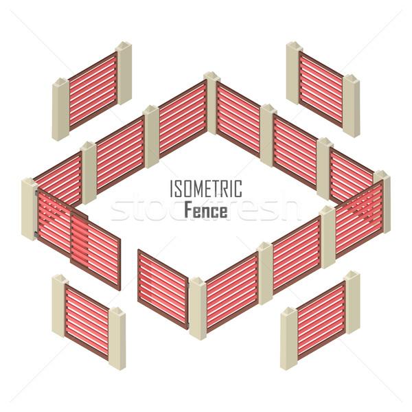 забор вектора изометрический проекция красный Сток-фото © robuart