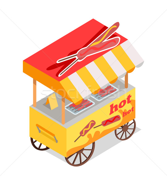 Fried Sausages Cart Store Isometric Vector Icon Stock photo © robuart
