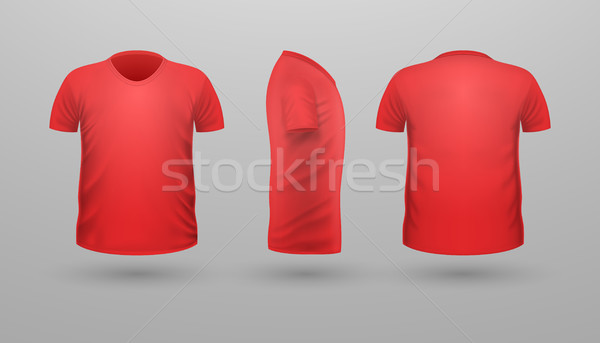 T-shirt Teplate Set. Front Side Back View. Vector Stock photo © robuart
