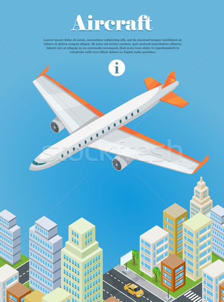 Aircraft Flying Over the City Web Banner. Vector Stock photo © robuart