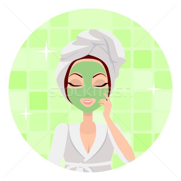 Scrubbing. Girl Applying a Face Scrub. Vector Stock photo © robuart
