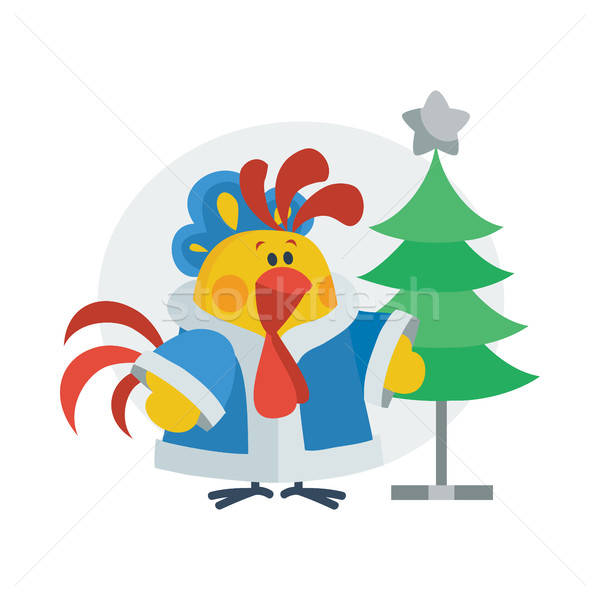 Rooster in Christmas Suit Cartoon Flat Vector Icon Stock photo © robuart