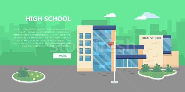 Foto stock: Escuela · secundaria · edificio · vector · estilo · diseno · público