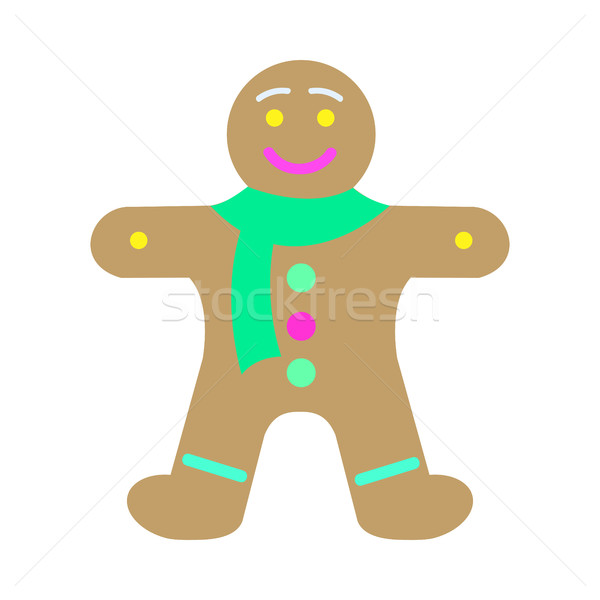 Ano novo decorado pão de especiarias forma homem gingerbread man Foto stock © robuart