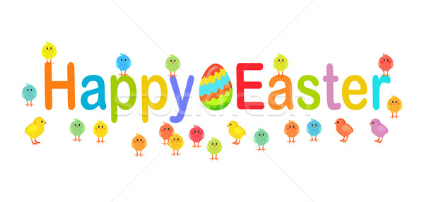Happy Easter Text Decorated with Chicks and Eggs Stock photo © robuart