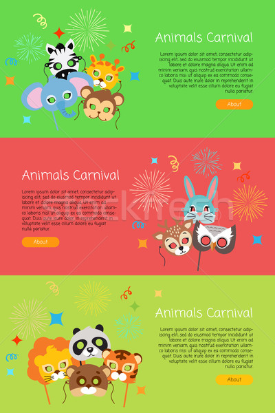 Animals Carnival. Collection of Face Masks for Kids Stock photo © robuart