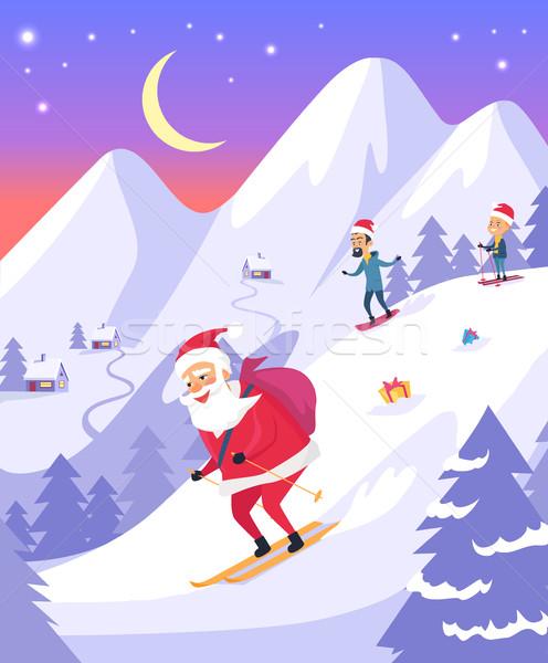Santa Claus with Bag Sliding Down Snowy Mountains Stock photo © robuart