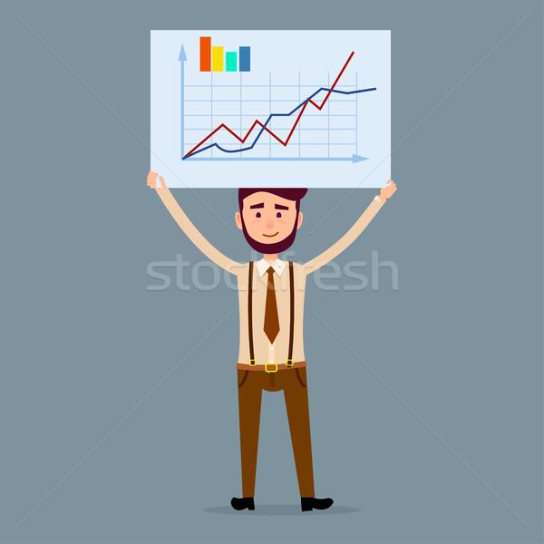 Férfi karakter tábla diagram illusztráció fiatal Stock fotó © robuart