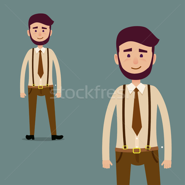 Young Male Bearded Cartoon Character Illustration Stock photo © robuart