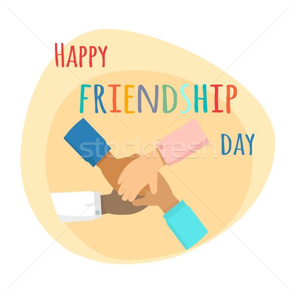 Feliz amizade dia ilustração crianças mãos Foto stock © robuart