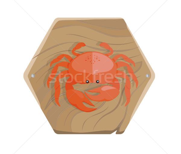 Taze yengeç ahşap tepsi yalıtılmış örnek Stok fotoğraf © robuart