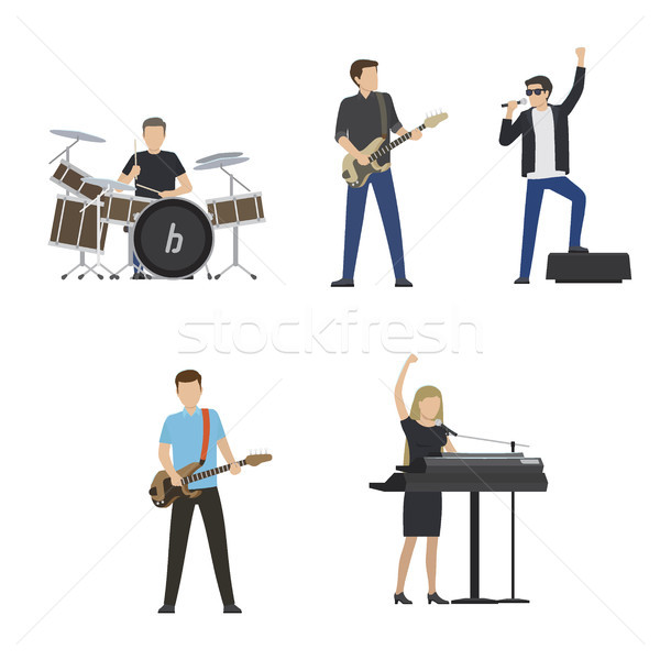 Faceless Musicians Plays on Instruments and Sing Stock photo © robuart