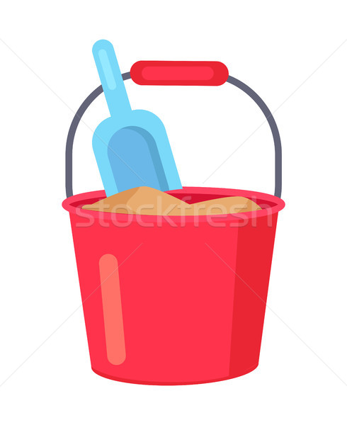 Vector poster of Bucket with Sand and Kids Spade Stock photo © robuart