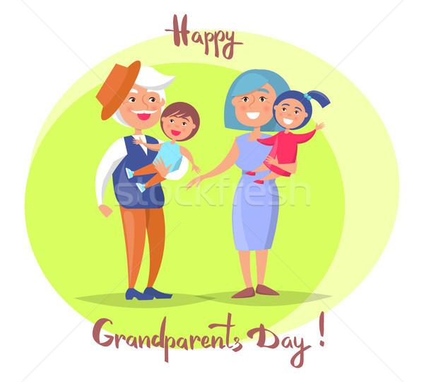 幸せ 祖父母 日 子供 ポスター ストックフォト © robuart