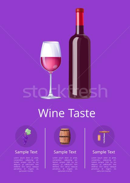 Vinho gosto texto amostra cartaz garrafa Foto stock © robuart