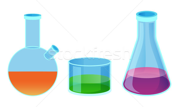 Chemical Flasks of Different Shape Isolated Vector Stock photo © robuart