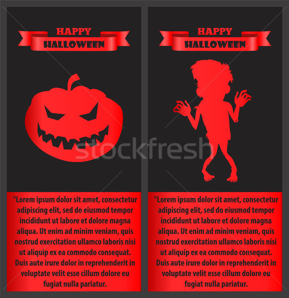 Happy Halloween Poster with Zombie and Pumpkin Set Stock photo © robuart