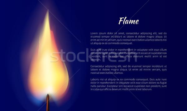 Flamme bougie texte affiche isolé bleu Photo stock © robuart