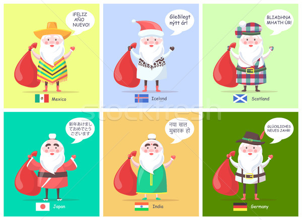 Mexico Iceland Santa Clauses Vector Illustration Stock photo © robuart