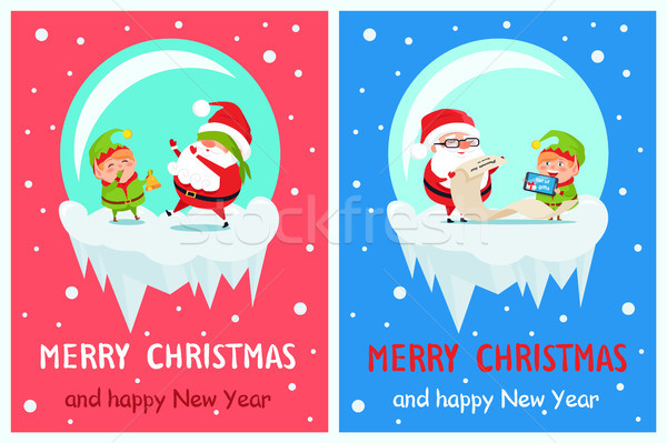 Happy New Year Merry Xmas Postcard Santa and Elf Stock photo © robuart
