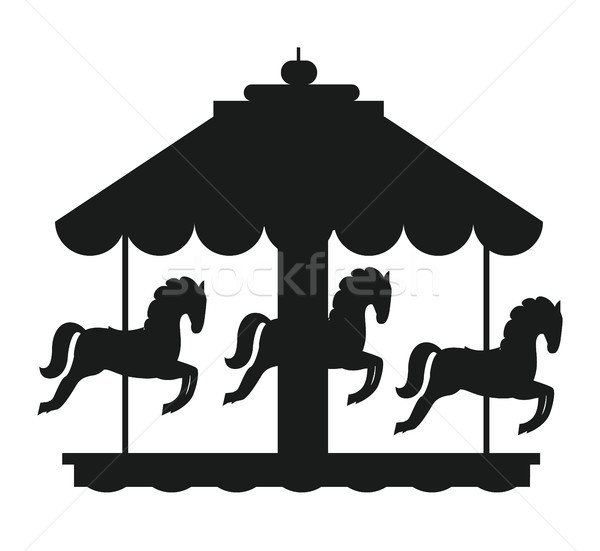 лошадей карусель черный икона силуэта изолированный Сток-фото © robuart