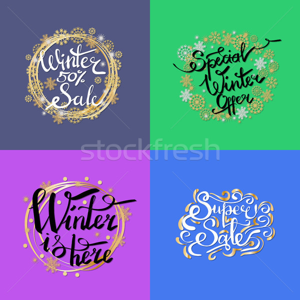 Winter Sale -50 Here on Vector Illustration Stock photo © robuart