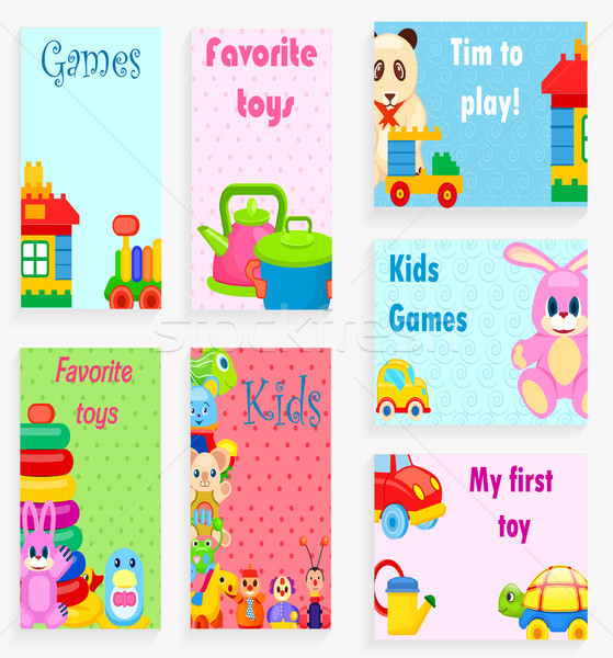 Kids Games and Favorite Toys Illustrations Set Stock photo © robuart