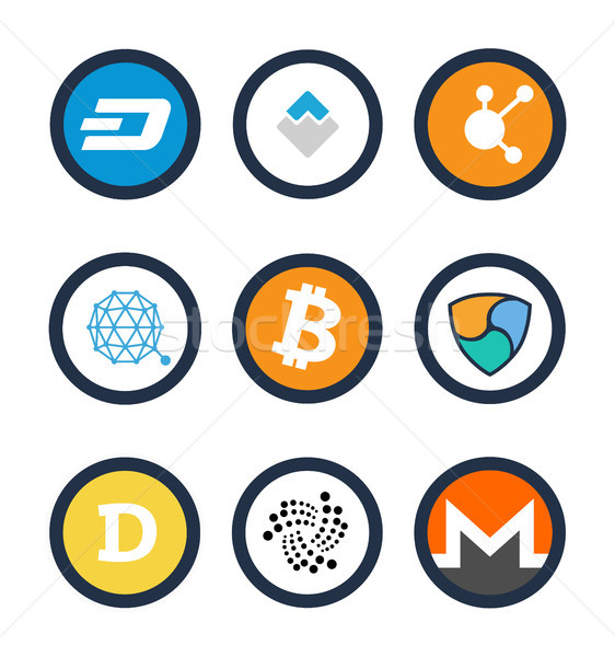 Various Cryptocurrency Signs Set Inside Circles Stock photo © robuart