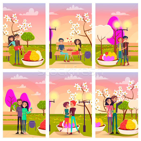 Six Cards of Loving Couples at Flowering Spring Stock photo © robuart