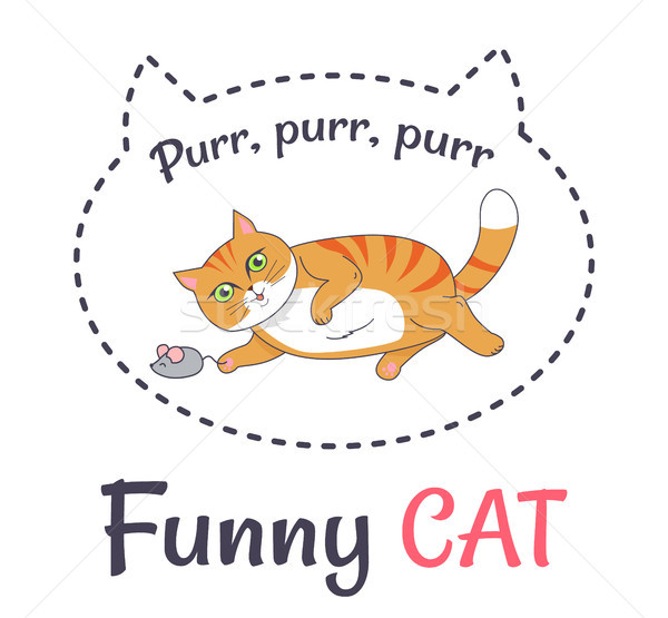 Funny Cat Makes Sound Purr Playing with Grey Mouse Stock photo © robuart