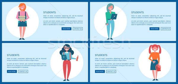 Student Girls Set of Posters with Push Buttons Stock photo © robuart