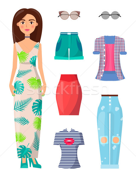 Woman and Summer Mode Set Vector Illustration Stock photo © robuart