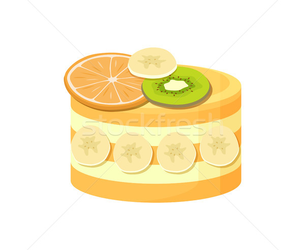 Hermosa pastel de frutas anunciante frescos naranja kiwi Foto stock © robuart