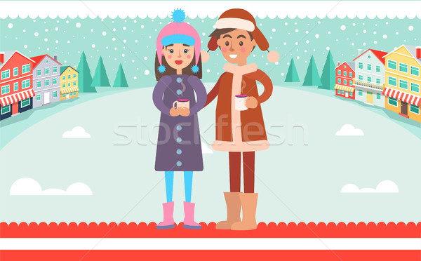 Girl and Boy in Warm Winter cloth Cups of Hot Tea Stock photo © robuart