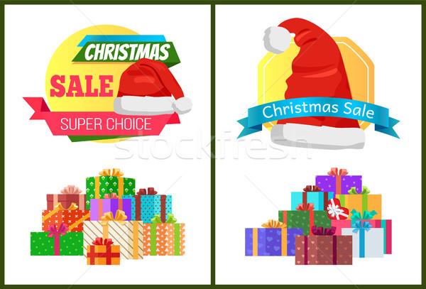 Ingesteld christmas verkoop posters promo Stockfoto © robuart