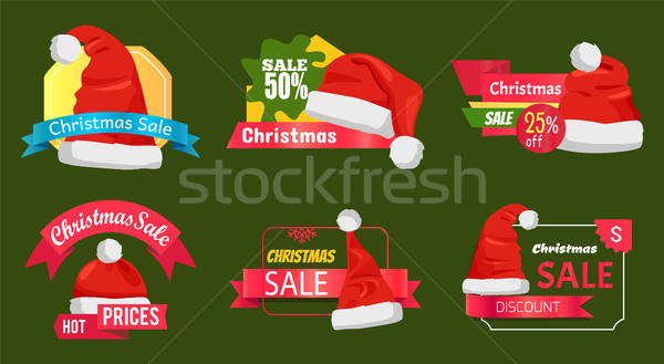 Great Diversity of Santa Hats on Shopping Labels Stock photo © robuart