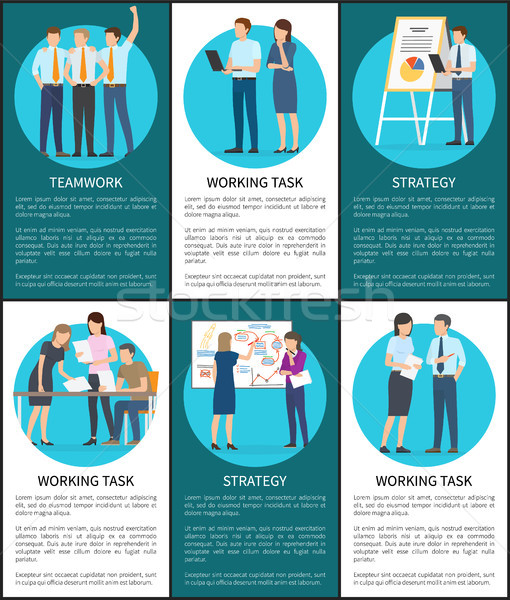Set of Working Task Teamwork Strategy Banners Stock photo © robuart