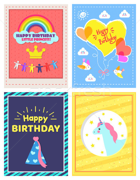 Set of Happy Birthday Little Princes Pictures Stock photo © robuart