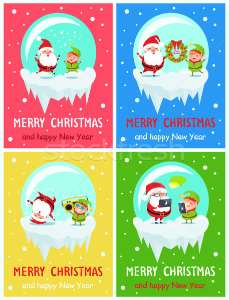 Stockfoto: Vrolijk · christmas · gelukkig · nieuwjaar · groet · kaarten · briefkaart